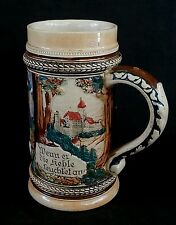 Antique German ceramic beer stein bierkrug 1/2 L.