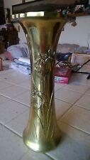 Exquisite Antique Brass Vase with Iris Designs