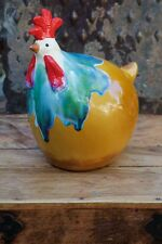 Whimsical Multicolored Rooster Ceramic Statue