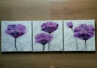 * NEW SET 3 FLOWER FLORAL PURPLE WHITE GLITTER canvas wall art pictures home.