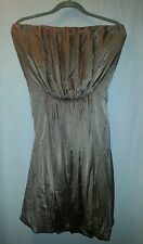 NWT Silk Miguelina GDJ01 Petula Dress Stretch Charmeuse Strapless Bubble Taupe L
