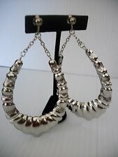 "3 1/2"" silver bamboo chain clip on earrings basketball wives non pierced"
