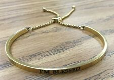 "Intuitions Stainless Steel ""I'm Blessed"" Diamond Accent Adjustable Bracelet Gold"