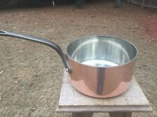 """Vintage Chomette Favor 3mm 8.875"""" Mauviel French Copper Sauce Pan Very Good Tin"""