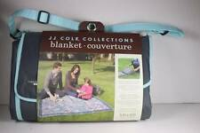 JJ Cole Travel Picnic Blanket with Carrier Diaper Bag Play Mat Blue Squares 5x5