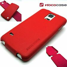 Genuine Leather HOCO DUKE FLIP Case Cover For Samsung Galaxy S5 & S5 Neo RED