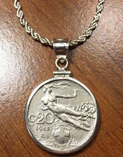 Antique 1913 Italian Nude Coin in Sterling Silver Bezel & Plated Rope Chain +Box