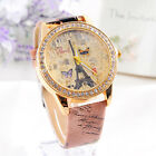 Fashion Paris Style Tower Pattern Butterfly PU Leather Women Analog Watches