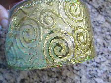 "NEW 60 FEET WIRE EDGED 2 1/2"" GOLD SCROLL METALLIC RIBBON FREE SHIP"