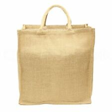 "Natural Burlap Shopping Bag - 16"" x 17"" x 8"" - Large Jute Grocery Tote Bag Sack"