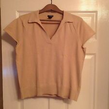 GAP beige woman's cotton short sleeves polo jersey shirt, size L