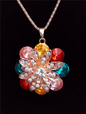 Betsey Johnson Fashion jewelry Necklace flower Crystal Pendant Sweater Chain F84
