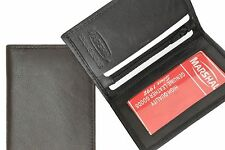 Black New Men's Genuine Leather Bifold ID Credit Card Holder Wallet  Zip