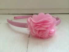 Baby Pink Satin Girls Hairband Headband Alice Band with Pink Flower