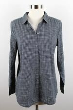 J.Jill Small Black Long Sleeve Plaid Check Shirt Top Long Sleeve Cotton