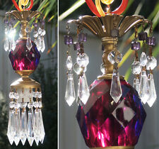 1of8 Vintage Lucite Amethyst purple SWAG lamp chandelier crystal Beaded prisms