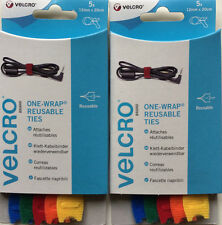 VELCRO® Brand One-Wrap Reusable Ties,10 x 12mm x 20cm Multi-Colour, Easy To Use