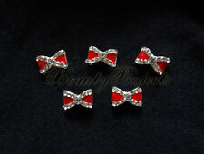 5pcs red silver 3D bow charm rhinestone nail art charms nails acrylic gel A47