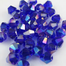 Jewelry making 100pcs 4mm #5301 colorful Bicone glass crystal beads Blue AB   X3