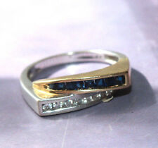 14K Two Tone Wite Gold/ YG Sapphire and Diamond Ring by EFFY/B.H. Multi Com