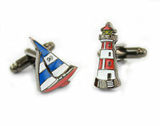 Sailing Boat & Lighthouse Cufflinks  in Gift Tin    22417