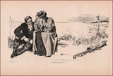 Couple Resting Playing Golf by Charles Dana Gibson, antique print 1902