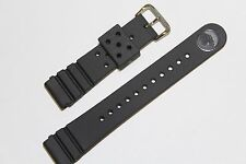 GENUINE SEIKO 22MM - FLAT BLACK DIVER STRAP 4F24ZZ + FAT C220FS SPRING BARS