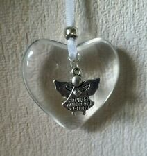 Hanging glass heart decoration angel charm rememberance remember lost loved ones