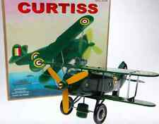 TIN TOY CURTISS BI-PLANE WIND UP PLANE ROLLS & PROP SPINS A GREAT COLLECTIBLE