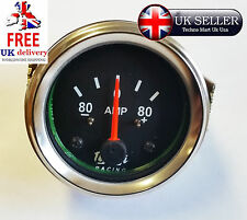 "80-0-80 BAR CHROME DIAL AMMETER AMP METER GUAGE CLOCK 52MM 2""DIA CAR BOAT M614-E"