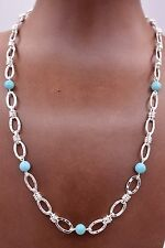 "Turquoise Bead Station Sterling Silver 18"" Status Necklace QVC 925"