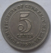 Commissioners of Currency Malaya 5 cents 1950 coin (C)