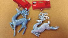 WHOLESALE LOT OF 24 PC CHRISTMAS REINDEER ORNAMENTS BLUE GLITTER