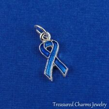 Silver and Blue AWARENESS RIBBON Colon Cancer Bullying CHARM PENDANT *NEW*