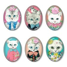 6pcs Glass Fancy Cats Oval Cameo Cabochon 18x25mm - Group B