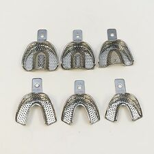 DENTAL STAINLESS STEEL PERFORATED IMPRESSION TRAYS AUTOCLAVABLE SET OF 6