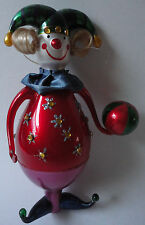 "Smiling Jester Clown Figurine 8"" Decorative Bejeweled Red Multicolor  NIB"