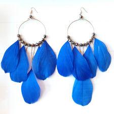 Boucles d'oreilles plume bleue créole XL tendance ethnique mode femme gipsy
