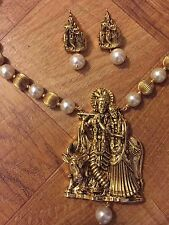 New Indian Ethnic Temple Jewelry Gold Plated Radha Krishna Pearl Necklace