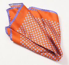 New $215 KITON NAPOLI Orange-Purple Small Floral Medallion Silk Pocket Square