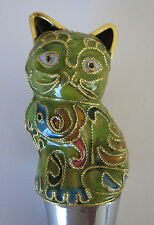 Chinese Beijing Cloisonne Chartreuse Cat Wine Bottle Stoppers