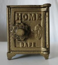 HOME SAFE PAINTED VINTAGE WORKING COMBINATION CAST IRON SAFE BANK