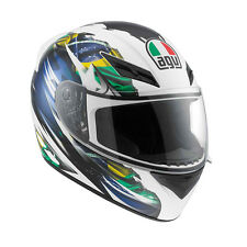 AGV K-3 Brazil Flag Full-Face Motorcycle Helmet (White/Blue) M (Medium)