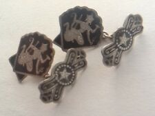 Pair Of Rare Vintage Siam Sterling Silver Shell - Shaped Enamelled Cufflinks