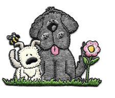 """Dog - Puppy - Garden - Embroidered Iron On Applique Patch - 3""""Wide"""