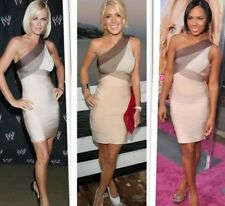 Celebrity Favourite Brown and Beige Herve Leger dress
