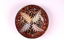 RARE Antique Moser Cranberry Glass Small Salt Bowl Dish Oak Leaf Ferns Buds