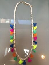 NWOT Multi Color Rainbow Tassel Long Bead Layering Necklace Anthropologie