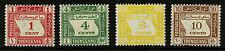Malaya Tregganu  1937   Scott # J1-J4   Mint Lightly Hinged Set