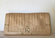 Cole Haan Village Weave Gold/Natural Envelope XL Clutch/Wristlet Magnet Closure